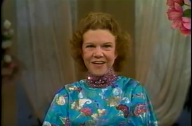 Kathryn Kuhlman on the set of I Believe in Miracles TV SHow
